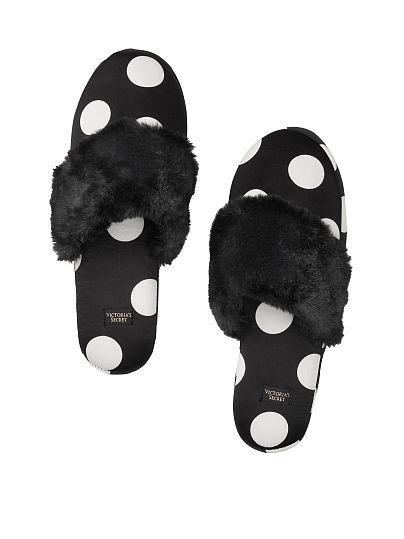 Victoria's Secret, Victoria's Secret Signature Satin Slippers, Black/White Dot, offModelFront, 1 of 2