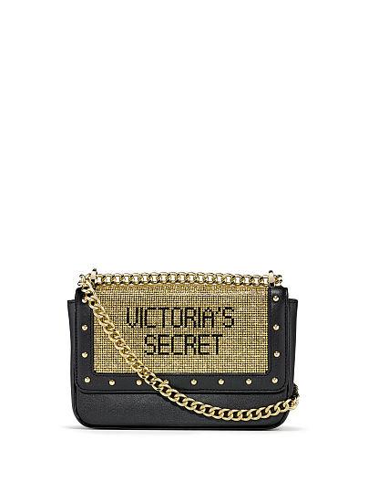 Victoria's Secret Rhinestone Logo Small Bond Street Shoulder Bag, Black/Gold, featured, 1 of 1