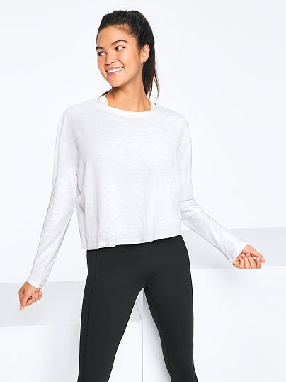 Long Sleeve Cropped Tee by Pink