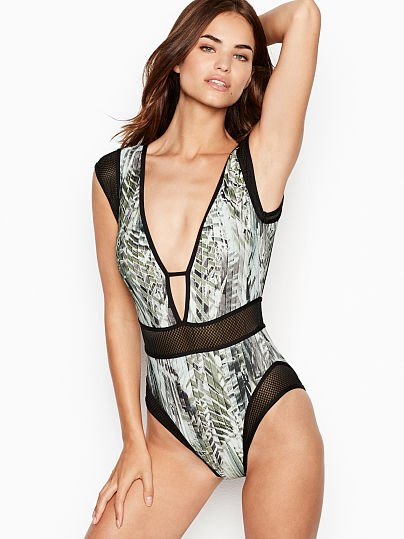 40740de23c2 Kenneth Cole new V-plunge Cutout One-piece, Olive Print, onModelFront,