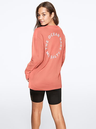 Victoria Secret PINK Oversized White Bright Logo Campus Long sleeve Tee L XL New