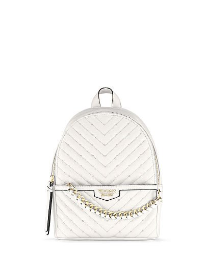 Victoria's Secret, Victoria's Secret Studded V-Quilt Small City Backpack, White/Gold, featured, 1 of 3