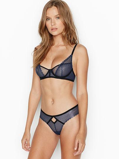 Victoria's Secret, Luxe Lingerie Fishnet Unlined Demi Bra, featured, 1 of 3