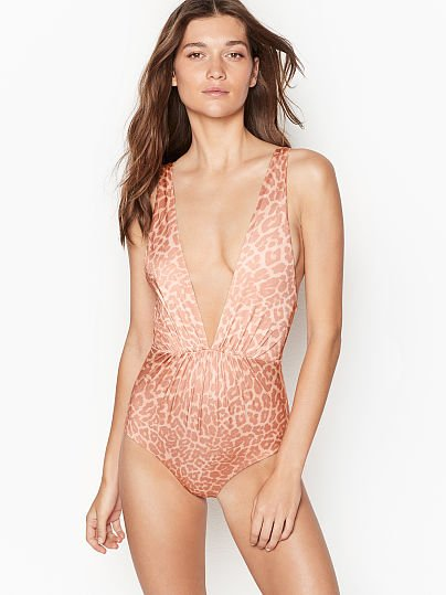 b93a6f375a09 Victoria's Secret, TORI PRAVER SWIMWEAR new V-plunge One-piece, Leopard,