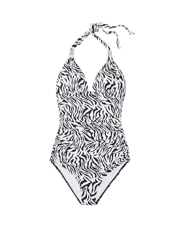 Details about  /New Victoria/'s Secret Swim White Geo Print Stretch Tie Halter One Piece Swimsuit