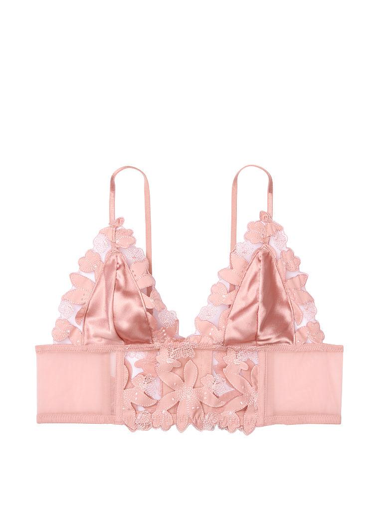 NEW Victorias Secret Bra 36D Unlined Plunge Strappy Black Pink Floral Mesh #025