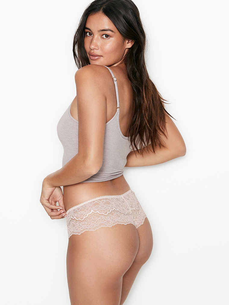 XS Victoria/'s Secret DREAM ANGELS Lace Hipster Thong Org $16.50 Evening Blush