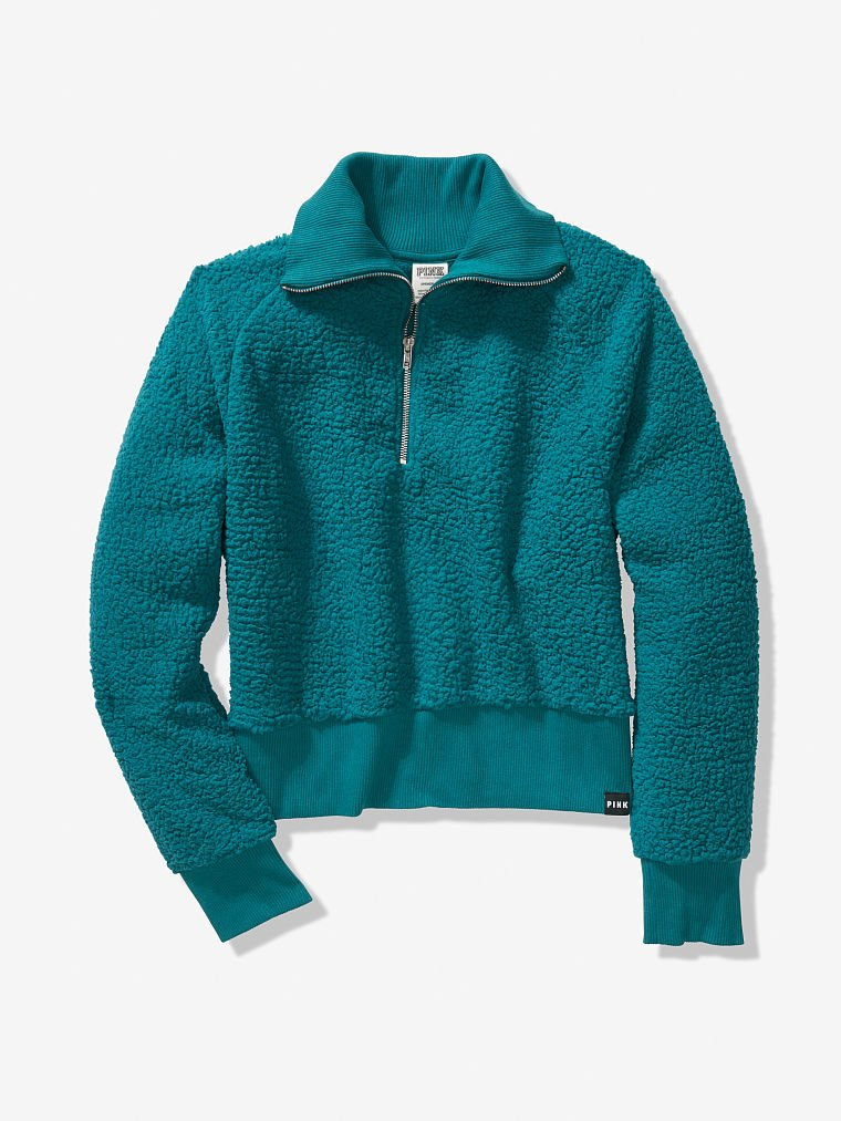 Details about  /Victoria/'s Secret PINK Sherpa Half-Zip Dark and Stormy L or XL
