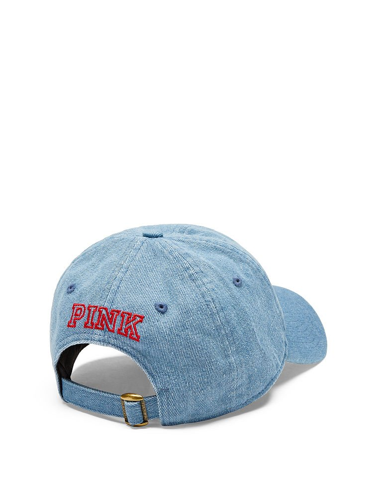 New Victoria/'s Secret PINK White Embroidered Logo Beige Baseball Hat Cap