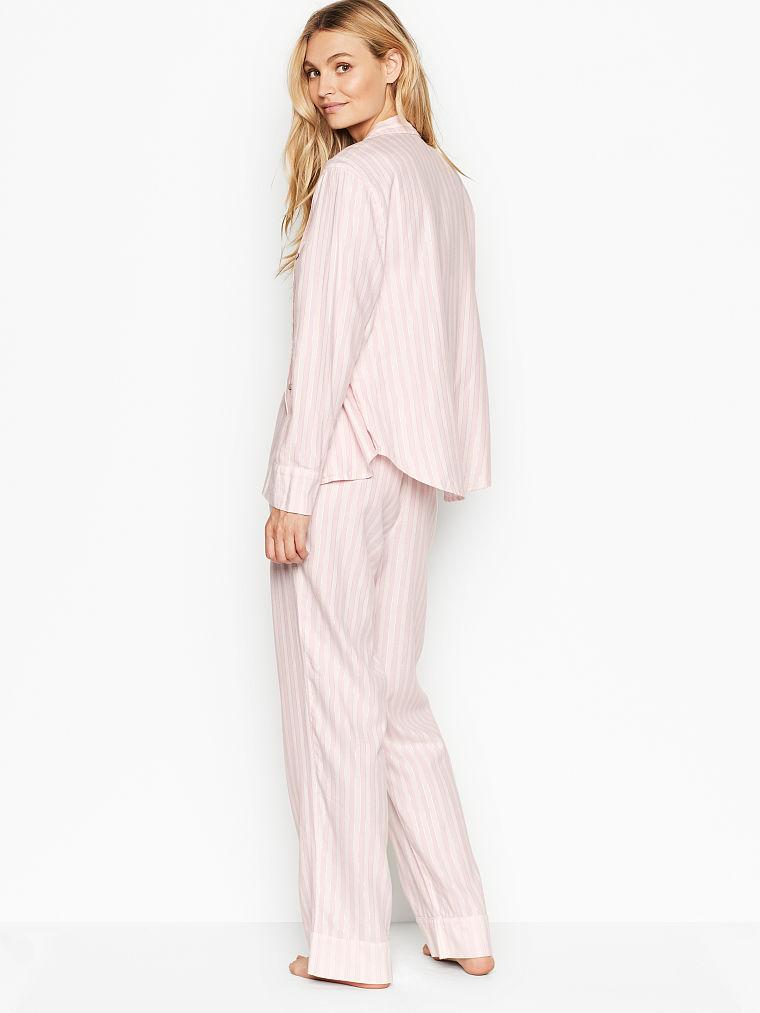 Victoria's Secret, Victoria's Secret Flannel PJ Set, Pink/White Stripe, onModelBack, 2 of 3