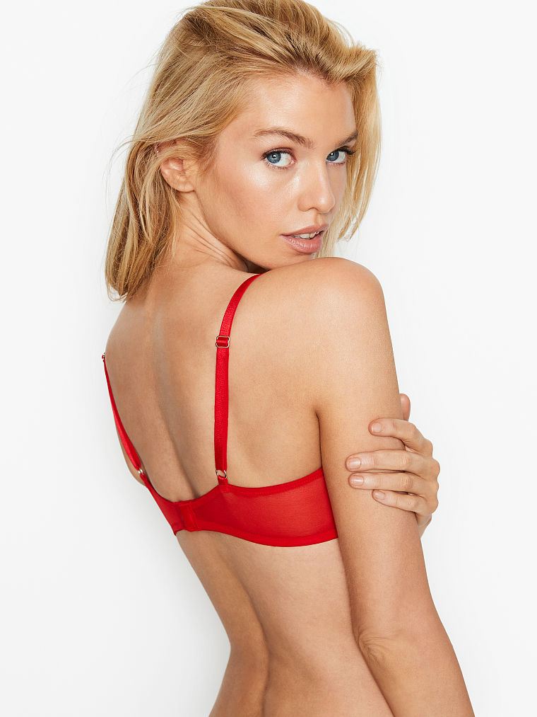 Details about  /Victoria/'s Secret Dream Angels Wicked Balconet uplift unlined bra red heart mesh