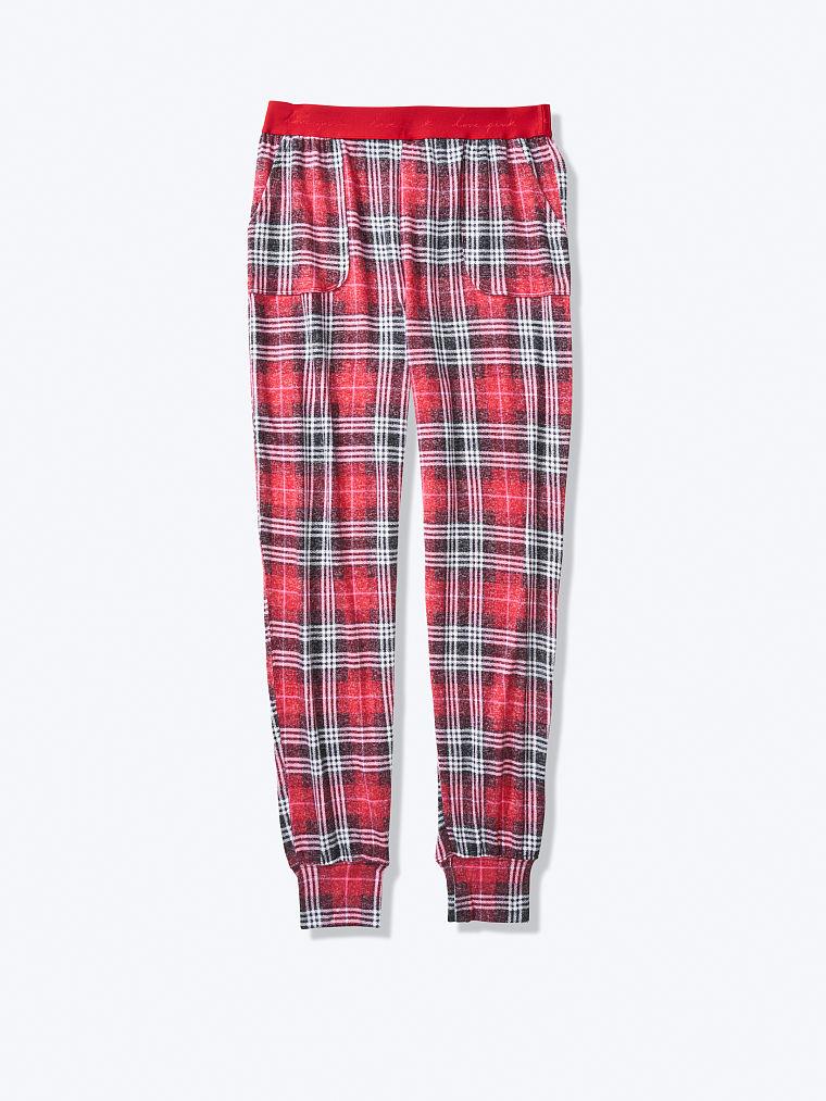 Victoria Secret Logo Shine Flanelle Jogger Noir Rose Pois Sommeil Pyjama Pants M