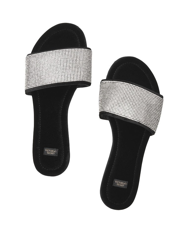 Victorias Secret Embellished Velvet Slides