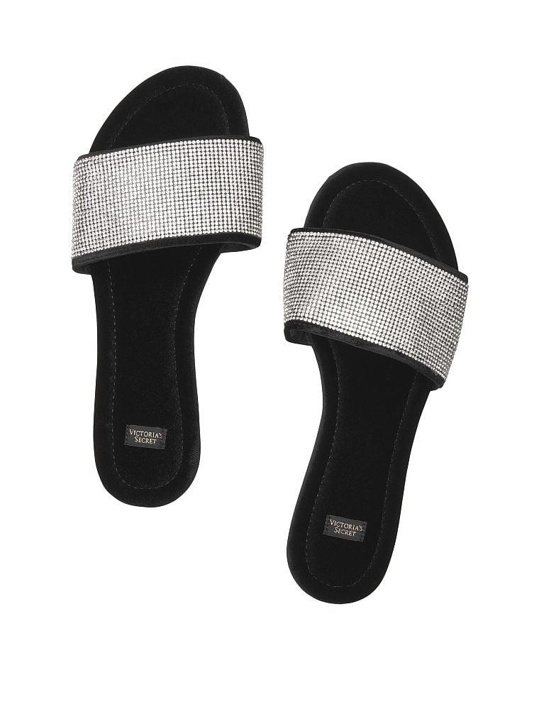 Victorias Secret Embellished Velvet Slides (Pure Black)