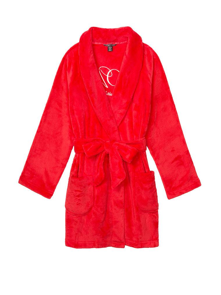 New Victoria/'s Secret Cozy Short Robe Flint Grey Light Blue XS//S M//L Victorias