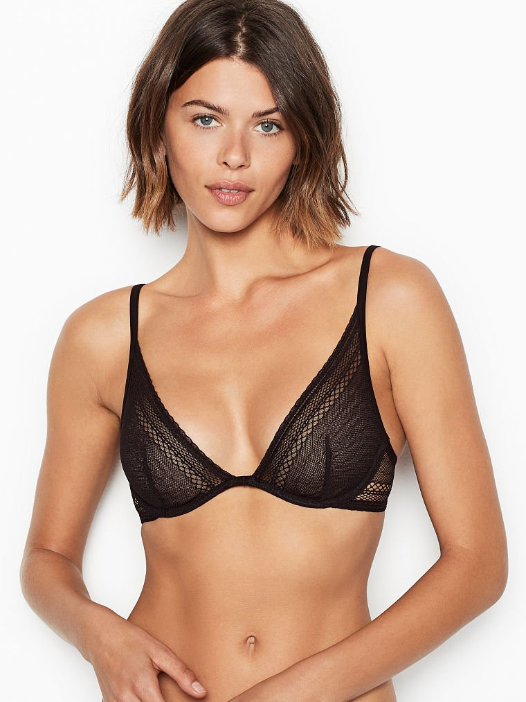 VS VICTORIA/'S SECRET MILLENNIAL PINK LOGO INCREDIBLE UNLINED PLUNGE BRA