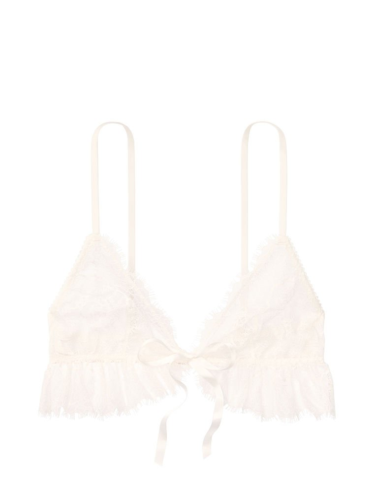 Victoria's Secret, Dream Angels Unlined Triangle Bralette, Coconut White, offModelFront, 4 of 4