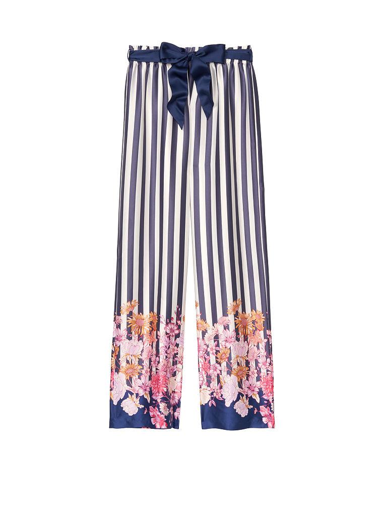 Victorias Secret $70  Satin Pants L PJ Pajama Floral Roses Pockets Wide Leg NWT