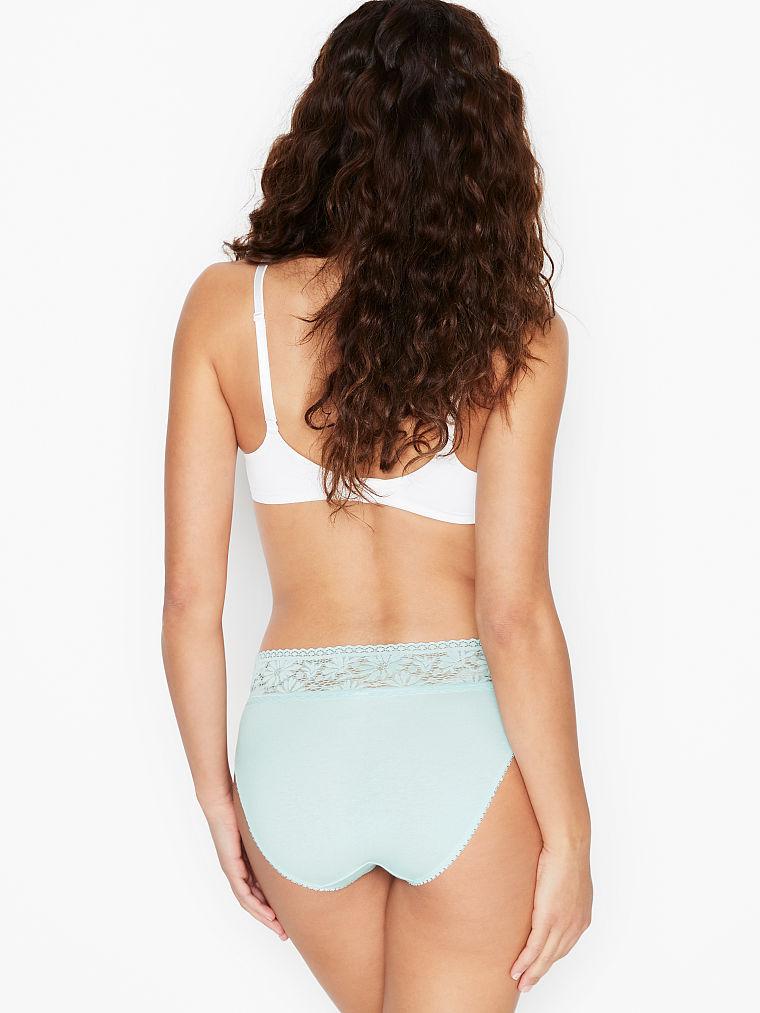 VICTORIA/'S SECRET LOGO Stretch Cotton Lace waist High leg Brief Panty Large