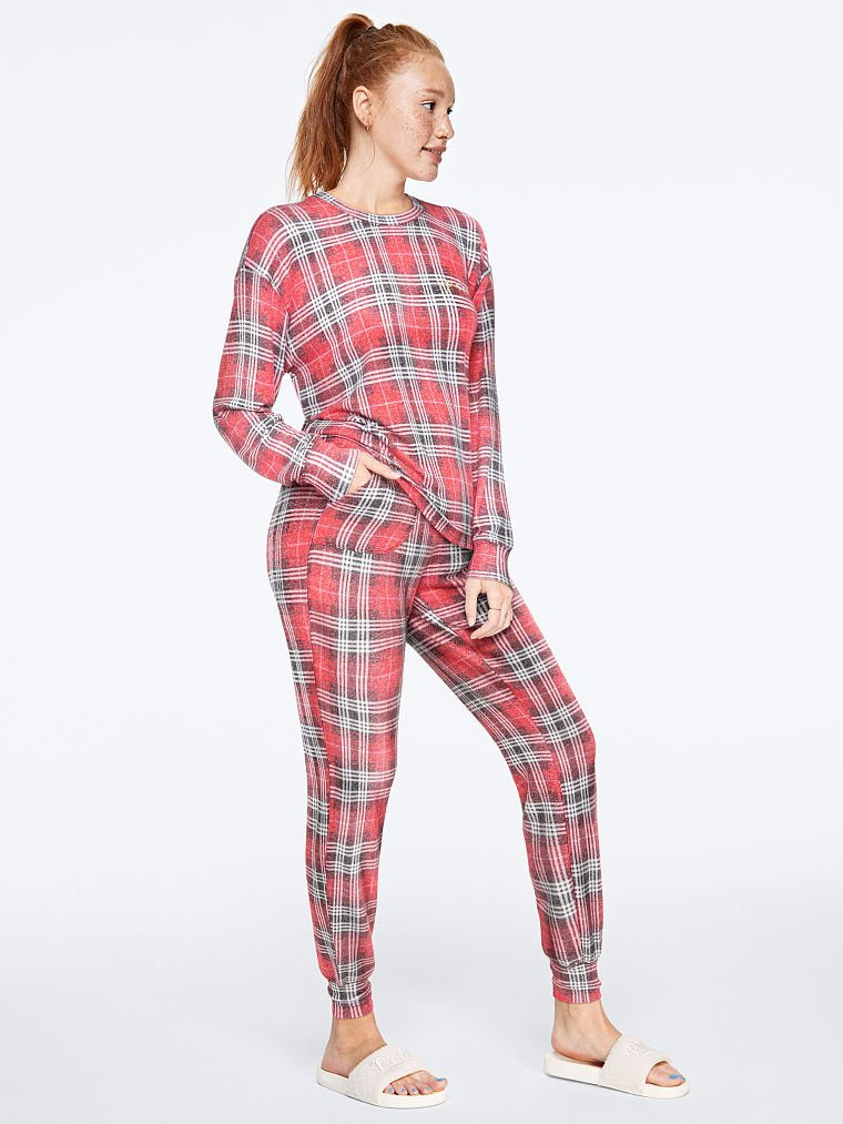 Briefly Stated Hunny Bunny Pink Cozy Knit Jogger Sleep Pants